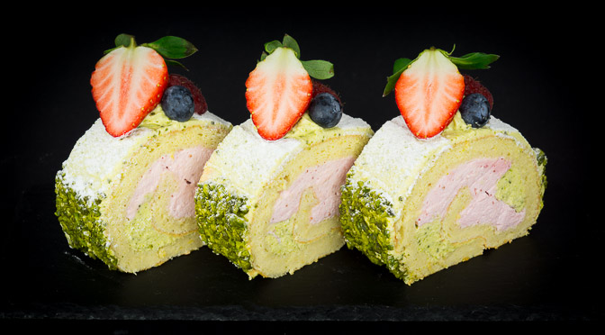 Pistachio Strawberry Roll